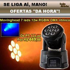 OFERTA! Mini Moving Head Wash 7 LEDs 12W RGBW DMX Áudio-Rítmico: De R$ 489 Por R$ 449,88 em http://www.aririu.com.br/mini-moving-head-wash-led-rgbw-leds-12w-dmx-audioritmico-206xJM