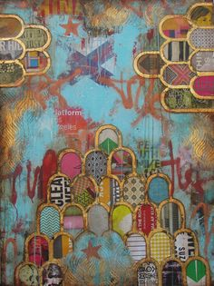 Jill Ricci @ Parlor Gallery Speaking Truth Mixed Media on Canvas, 36 x Collages, Collage Art, Mixed Media Artwork, Mixed Media Canvas, Moroccan Art, Textile Artists, Art Journal Inspiration, Heart Art, Indian Art