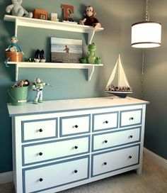 Idea for the kiddos room! Need to paint their dresser anyway....