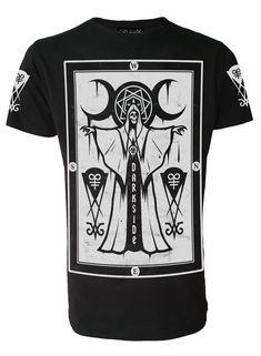 Darkside-skull crow-t-shirt homme-noir-gothique rock occult wiccan