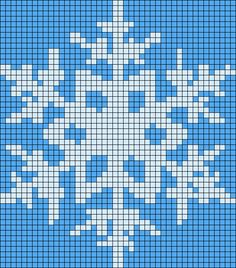 Winter snowflake perler bead pattern - use as a cross stitch pattern for children to sew Beaded Cross Stitch, Cross Stitch Charts, Cross Stitch Embroidery, Cross Stitch Patterns, Perler Patterns, Loom Patterns, Beading Patterns, Hama Beads, 8bit Art