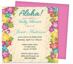 Baby Shower Invitations : Hibiscus Shower Invitation Template