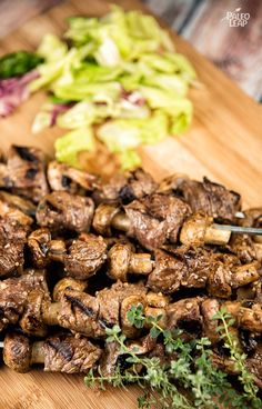 Balsamic Steak And Mushroom Skewers - These skewers go really well with all your favorite seasonal sides. (Paleo, Gluten Free, AIP) by tina Dog Recipes, Steak Recipes, Grilling Recipes, Paleo Recipes, Whole Food Recipes, Cooking Recipes, Steak And Mushrooms, Stuffed Mushrooms, Cena Paleo