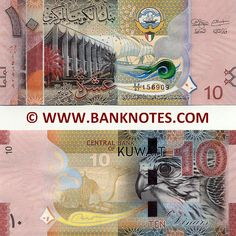 "Kuwait 10 Dinars (2014) Front: Kuwaiti Emblem depicting a golden falcon (Hawk of Quraish) and a Boom sailing ship (dhow). The National Assembly of Kuwait with palm trees in front. Sambuk dhow ship in full sail. Back: Falcon. Camel dressed in a Sadu Saddle. Watermark: Falcon head; Electrotype ""10"" in Arabic numerals; Reinforced Cornerstones. Main colour: Reddish orange. Artist: Unknown. Engraved by: Unknown. Signatures: Mohammad Yousef Al-Hashel (Governor); Anas Al-Saleh (Minister of…"
