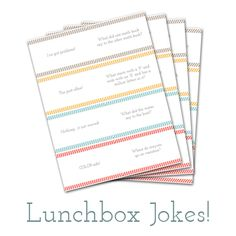 A super-fun printable collection of lunchbox jokes!  Perfect humor for my kids! : )