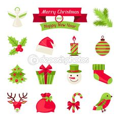Merry Christmas and Happy New Year icons. — Ilustración de stock #31363265