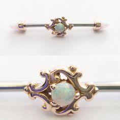 Opal Barbell piercing