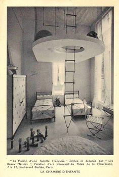 Children's lofty bedroom from the 1930's.  Source : Architecture of Doom...so lovely