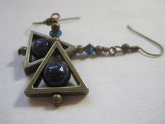 Bronze and lapis lazuli triangle earrings. by ArtsParadis on Etsy, $13.00
