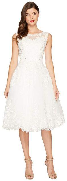 Unique Vintage Riviera Lace & Tulle Bridal Dress T-length! White Lace Wedding Dress, Tea Length Wedding Dress, Dress Wedding, Wedding White, Vintage Midi Dresses, Vintage Style Outfits, Fringe Flapper Dress, Cute Short Dresses, Lace Sheath Dress