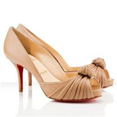77ceb5b3d0db Christian Louboutin Greissimo 80mm Peep Toe Pumps Beige Louboutin Shoes  Outlet