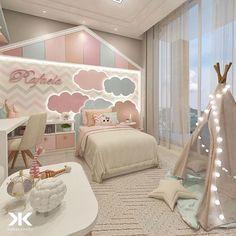 Não é porque sua filha é menina que o quarto precisa ser totalmente rosa e de princesa. Na hora de escolher as cores, os materiais e a… Kids Room Design, Girls Bedroom, Living Room Bedroom, Baby Bedroom, Living Room Furniture, Diy Room Decor, Bedroom Decor, Bohemian Style Bedrooms, Apartment Ideas