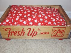 PET BED 7 up Soda Crate Vintage Upcycled pampered pets Gift. $48.00, via Etsy.