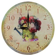 This listing is for one Home Decoration Vintage Style MDF Romantic Flowers and Watering Can Scene Vintage Style Wall Clock. Price £12.99