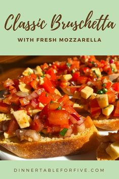Bruschetta - Dinner Table For Five Best Appetizer Recipes, Fun Easy Recipes, Best Appetizers, Quick Easy Meals, Healthy Recipes, Healthy Finger Foods, Most Delicious Recipe, Best Food Ever, Bruschetta