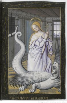 gorgonetta: demonagerie: Bibliothèque nationale de France, Latin f. Book of Hours, use of Rome. century Aw man, before I scrolled to see the bottom of the pic I thought this was a medieval illustration of a lady with a snake tail Medieval Manuscript, Medieval Art, Renaissance Art, Illuminated Manuscript, Medieval Paintings, St Margaret, Book Of Hours, Sacred Art, Christian Art