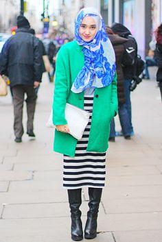 Dian Pelangi in jade coat, London - Brain Beauty Belief