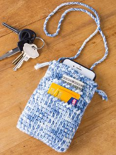 "Pick-a-Pocket Pouch ~ holds cell phone, school ID's, meal cards, money & whatever else you want to put in it ~ measures 4"" x 5.25"", excl. strap ~ CROCHET"
