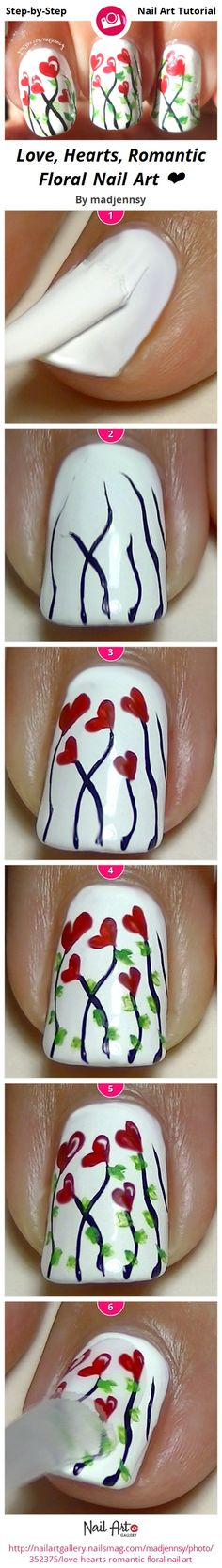 Love, Hearts, Romantic Floral Nail Art ❤ by madjennsy from Nail Art Gallery