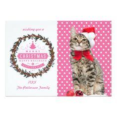 Christmas cat - santa claus cat - cute kitten card - invitations custom unique diy personalize occasions