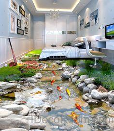 3D Fish Stone Stream Floor Decals WallPaper Murals Wall Print Sticker Kitchen Bathroom Business Home Office Decor