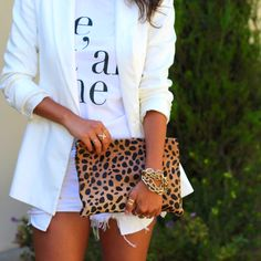 leopard clutch x all white outfit