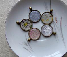 Vintage Handkerchief Pendant  Hanky Necklace  by hendersweet