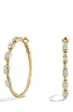 David Yurman 'Confetti' Hoop Earrings with Diamonds in Gold available at #Nordstrom