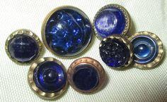 LOT 7 ANTIQUE VICTORIAN WAISTCOAT JEWEL BUTTONS COBALT BLUE GLASS SET IN BRASS