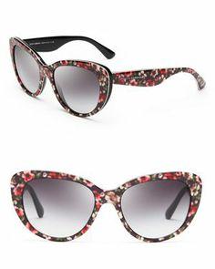 Dolce & Gabbana Floral Cat Eye Sunglasses