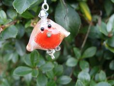 Robins  handmade lampwork bead set by FlamingEck on Etsy, £10.00