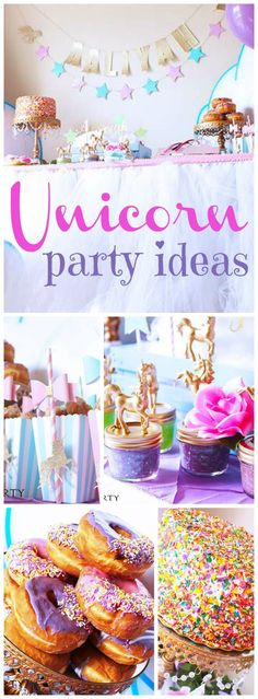 """What an incredible unicorn party with rainbow sprinkles and sweets! See more party ideas at <a href=""""http://CatchMyParty.com"""" rel=""""nofollow"""" target=""""_blank"""">CatchMyParty.com</a>!"""