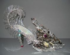 Items similar to SPACE CASE - Stained Glass Cosmic High Heel Mosaic Shoe Sculpture on Etsy