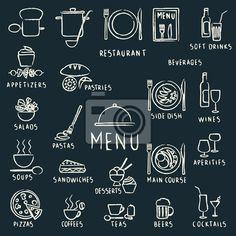 Fotomural dibujados restaurante de menú elementos de diseño de tiza en la pizarra - carta • PIXERS.es