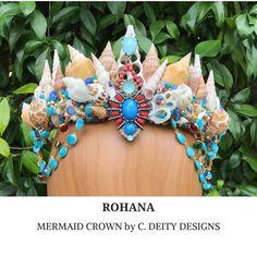 Mermaid Crown, Festival Crown, Bohemian Beach Bride Shell Crown ~ ROHANA  #festivalcrown