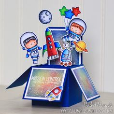 "Hello friends! I'd love to share with you today a ""spaced-out"" box card that I made for the young son of a friend of mine. For this c..."