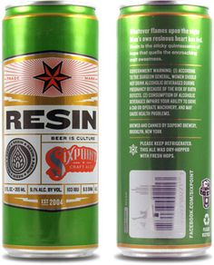 A craft beer first, Sixpoint's Resin comes in a 12 oz. slimline can.