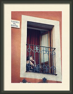 Framed Photo Smoking Woman in Avila Spain Plazuela del Rastro.  People photos with cigarettes in europe.