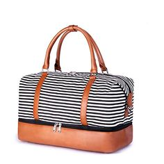 Buy SUVOM Women Weekend Bag Canvas Overnight Travel Tote Bag Carry on Shoulder Duffel Bag With PU Leather Strap (Black & White Thin Stripe with shoe compartment) Duffel Bag, Tote Bag, Weekender, Leather Backpack, Pu Leather, Hype Bags, Floral Backpack, Travel Tote, Pouch