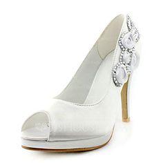 Wedding Shoes - $53.99 - Women's Satin Stiletto Heel Peep Toe Platform Sandals With Rhinestone Satin Flower (047020202) http://jjshouse.com/Women-S-Satin-Stiletto-Heel-Peep-Toe-Platform-Sandals-With-Rhinestone-Satin-Flower-047020202-g20202