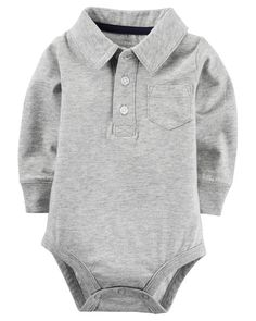 Complete with long sleeves and a pocket detail, polo styling elevates this classic bodysuit.