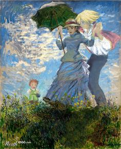 """Sophie and Howl With A Parasol  By derrydown - 'I love Hayao Miyazaki's movies, so I put Sophie, Howl, and little Markl from """"Howl's Moving Castle"""" into Monet's """"Woman With A Parasol"""". I tried to incorporate them in Monet's style.'"""