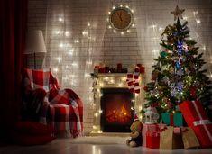 Holiday Christmas  Fireplace Room Gift Christmas Ornaments Christmas Tree Wallpaper