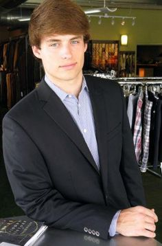 Tanner wearing his Ted Baker navy blazer