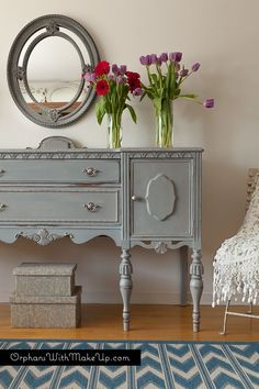 Paris Grey Antique Sideboard - this post lists the colors of chalk paint that were used to get this awesome finish - Orphans With MakeUp.