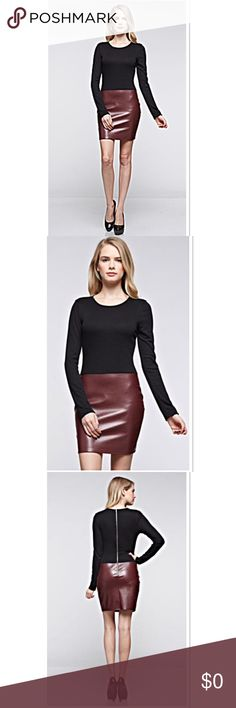 "FABULOUS RIBBED KNIT AND FAUX LEATHER DRESS Get the look of knit and leather with this chic dress. Top half is a ribbed knit and bottom a faux leather Measurements Lying flat S-BUST 14.5"" low waist 13"" Hip 14.5"" Length 32"" Med-Bust 15"" low waist 13.5"" Hip 15.5"" Length 32.5""      Large-Bust 16.5"" Waist 14.5"" Hips 17.5"" length 33.5"" Boutique Dresses Mini"