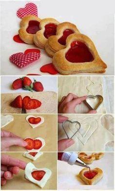 V-Day Strawberry Hearts Puff Pastry Recipes, Cookie Recipes, Dessert Recipes, Yummy Treats, Delicious Desserts, Sweet Treats, Sweet Cookies, Cake Surprise, Strawberry Hearts