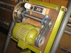 """Homemade panel saw - possible to adapt to heavier/deeper cuts (i.e. butcher block) by pulling larger motor and steel/iron top from older 10"""" table saw, then using steel or iron tubes for track."""