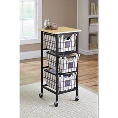 great for the laundry room to slide in beside the washing machine- Better Homes and Gardens 3-Drawer Wire Cart, Black