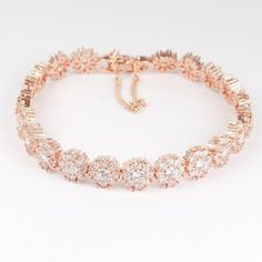 Rose Gold Diamante Bracelet via Etsy. Want soooo bad  j.d.m j.d.m j.d.m j.d.m Rice Hall show Jmi?:)